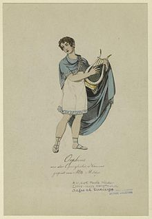 In the title role of the opera Orpheus (1807) by the Viennese composer and journalist Friedrich August Kanne[8] (Source: Wikimedia)