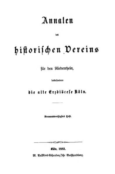 File:Annalen des Historischen Vereins für den Niederrhein 39 (1883).djvu