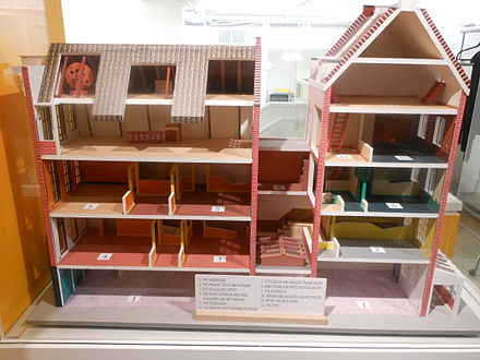 A model of the building where Anne Frank stayed, including the Secret Annex.