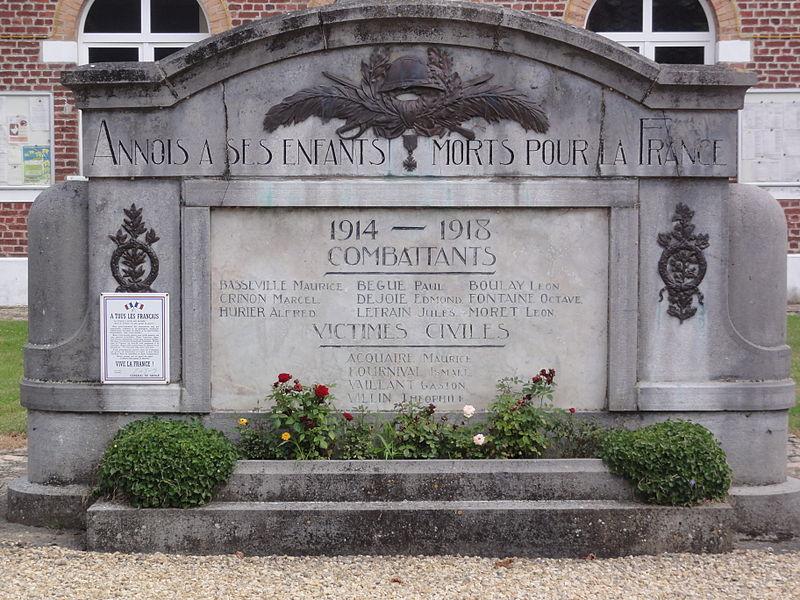 Annois (Aisne) monument aux morts