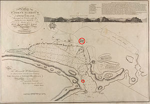 Siege of St. John's - This 1798 map of St. John's includes defences that were erected in later years.  Fort William and the South Castle have been highlighted.