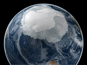Antarctic sea ice - Earth image on September 21, 2005 with the full Antarctic region visible
