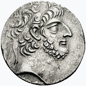 Antiochus XII Dionysus - Antiochus XII's portrait on the obverse of a tetradrachm, wearing the royal diadem