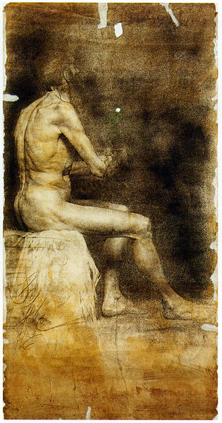 Slika:Anton Ažbe 1886 Sitting male nude in profile 1.jpg