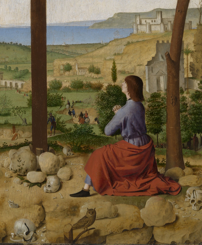 Antonello da Messina (1430–1479), Crocifissione (dettaglio), 1475 circa, olio su tavola, 52,5x42,5 cm, Anversa, Koninklijk Museum voor Schone Kunsten