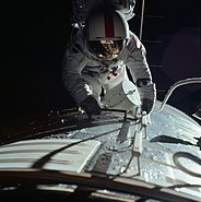 Apollo 17 astronaut Ronald E. Evans performs an extravehicular activity during the trans-Earth coast