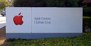 Infinite Loop (street) - The same sign with the old Garamond corporate font used from 1984 to 2004 and a red variant of the Apple logo which was used from 1998 to 2004.