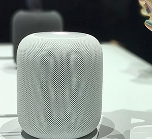 HomePod - A white HomePod on display at WWDC 2017