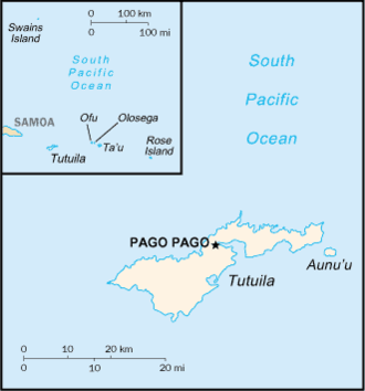 Uriel Sebree - Map of American Samoa. Swains Island was not added to the territory until 1925.