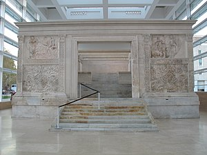 English: Full frontal view of Ara Pacis, with ...