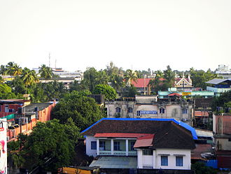 Downtown Kollam - Aerial view of off-Chinnakada in Downtown Kollam