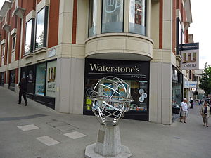 Sutton armillary - The Millennium Dial armillary in its latest location outside the town's Waterstones bookshop