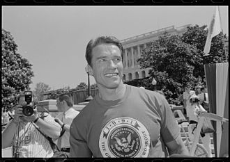 Political career of Arnold Schwarzenegger - Arnold Schwarzenegger on Capitol Hill for an event related to the President's Council on Physical Fitness and Sports