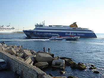 The entrance of Piraeus port. Flying Dolphin 1...
