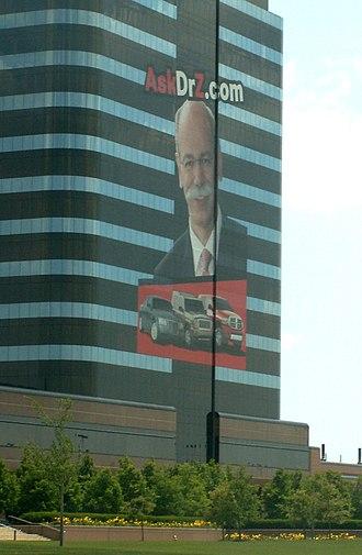 "Dieter Zetsche - Chrysler headquarters advertising the website ""AskDrZ.com"""
