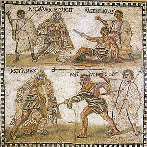 "Trident - Mosaic, 4th century BC, showing a retiarius or ""net fighter"", with a trident and cast net, fighting a secutor."