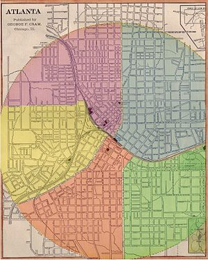 Atlanta annexations and wards - Layout of Atlanta's five wards (1874 to 1883)