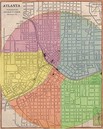 Atlanta annexations and wards - Layout of Atlanta's five wards (1874 to 1883)