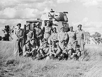 Australian armoured units of World War II - Members of the 2/4th Armoured Regiment with a M3 Grant tank in 1942
