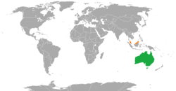 Map indicating locations of Australia and Malaysia
