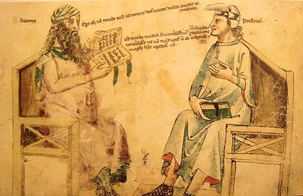 Imaginary debate between Averroes and third-century philosopher Porphyry. Monfredo de Monte Imperiali Liber de herbis, 14th century. AverroesAndPorphyry.JPG