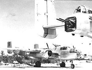 "Solenzara Air Base - B-25J-10 43-27425, ""111"". 447th Bombardment Squadron, 321st Bombardment Group, Solenzara Airfield, Corsica in late 1944."