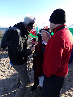 BBC Cymru Wales - BBC Wales reporter conducting an interview in Puerto Madryn, Argentina, for the 150th anniversary of Y Wladfa.