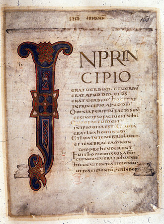 Coronation Gospels (British Library, Cotton MS Tiberius A.ii) - Folio 162 recto, the start of the Gospel of John