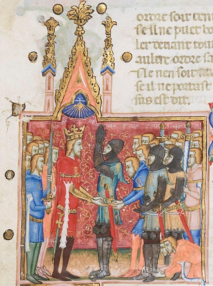 Investiture of a knight (miniature from the statutes of the Order of the Knot, founded in 1352 by Louis I of Naples).