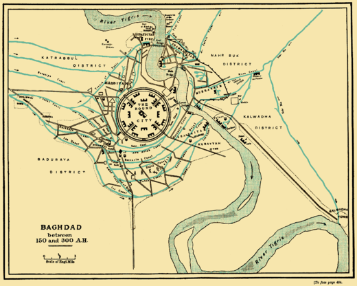 The city of Baghdad between 767 and 912 AD. The round plan reflects pre-Islamic Persian urban design. Baghdad 150 to 300 AH.png