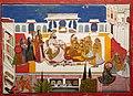 Bagta - Portrait of Rawat Gokal Das Celebrating 'holi' with his consorts, dated 1808.jpg