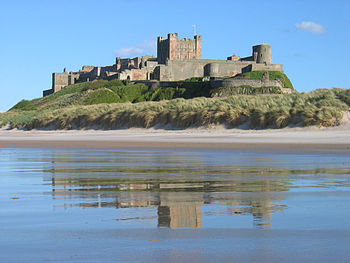 English: Bamburgh castle at the coast of North...