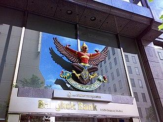 Bangkok Bank - Entrance to Bangkok Bank branch, with the garuda symbolising the royal warrant