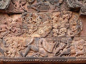 Khmer sculpture - Elegant roof carvings at Banteay Srei.