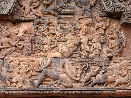 Low relief, Banteay Srei, Cambodia; Ravana shaking Mount Kailasa, the Abode of Siva Banteay Srei in Angkor.jpg