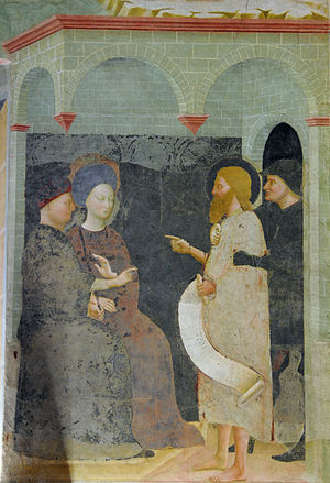 Chronology of Jesus - The Baptist scolds Herod. Fresco by Masolino, 1435