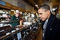 Barack Obama looks at candy on display at Donckers in Marquette, Mich., 2011.jpg