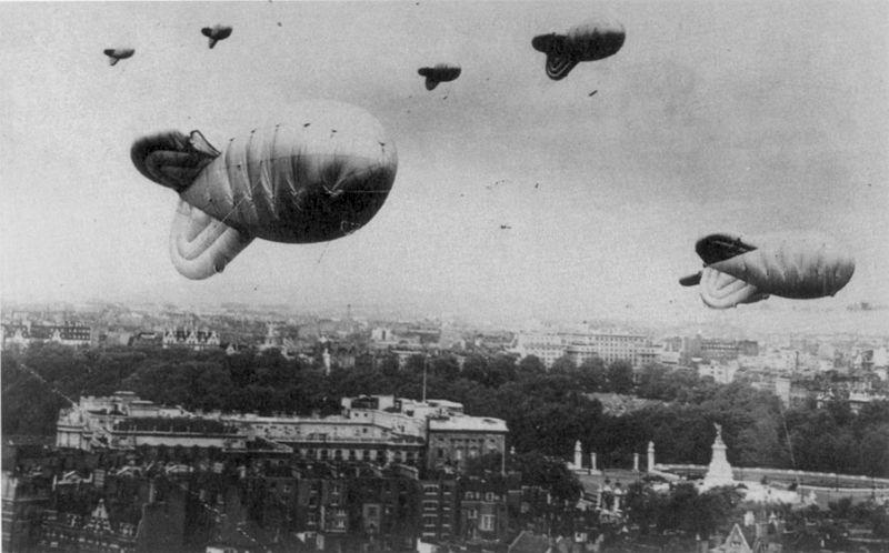 File:Barrage balloons over London during World War II.jpg
