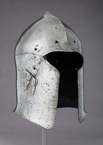 Armet - Italian bascinet c. 1400, it has a single hinged cheekpiece and its type may have had some influence on the development of the armet.