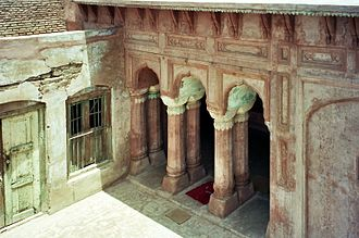 Qila Mubarak - Veranda: repair in progress, June 2003; (photo: G. S. Bhalla; click for larger view)