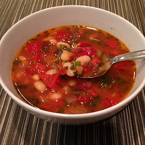 Bob chorba - Bulgarian bean soup with tomatoes and red peppers