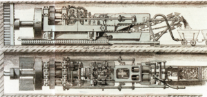 Frederick Beaumont - A contemporary plan of a tunnel boring machine from the 1880s on an idea by Colonel Frederick Beaumont and Thomas English. The tunnel boring machine was 9 meters (30 ft) long and was driven with compressed air.