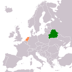 Map indicating locations of Belarus and Netherlands