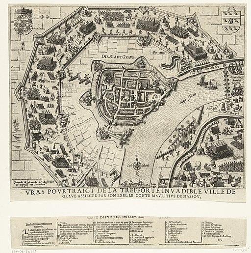 Beleg en inname van Grave door Maurits, 1602 Vray Pourtraict de la trefforte invadible ville de Grave assiegee par son exel. le conte Mauritius de Nassou (titel op object), RP-P-OB-80.621