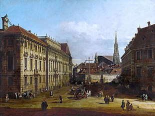 Palais Lobkowitz (on the left) in Vienna; painting by Canaletto, about 1760 (Source: Wikimedia)