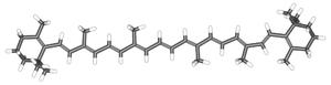 β-Carotene represented by a 3-dimensional stick diagram