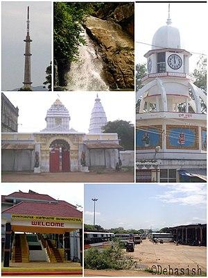 Bhawanipatna - Bhawanipatna Clockwise from top left: Doordarshan Tower, Phurlijharan, Durga Mandap (Big Ben of Bhawanipatna), Manikeshwari Mandir, Bhawanipatna Railway Station, Bhawanipatna Bus Stand