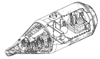 Drawing of a spacecraft which consists of a descent module, and a large cylindrical module behind it