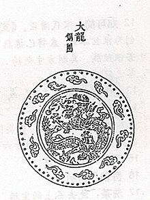 A drawing depicting a design inside of a circle, with that circle inside of a larger circle. The inner circle design contains a dragon curled in on itself, surrouned by flame. The outer circle contains a ring of small, isolated clouds spaced equally from each other.