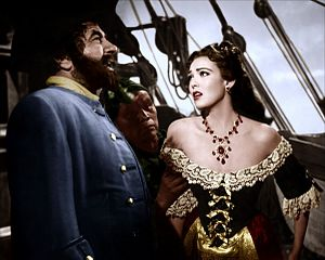 Linda Darnell - Darnell and Robert Newton in Blackbeard the Pirate
